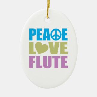 Peace Love Flute Ceramic Oval Decoration