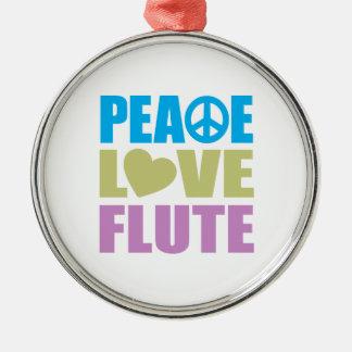 Peace Love Flute Round Metal Christmas Ornament