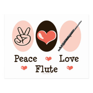 Peace Love Flute Postcard