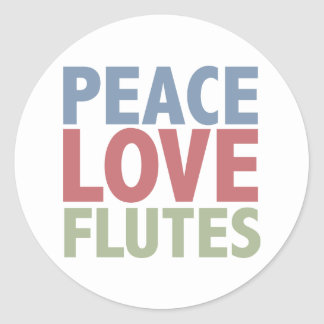 Peace Love Flutes Classic Round Sticker