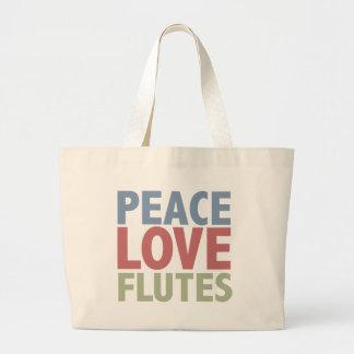 Peace Love Flutes Large Tote Bag