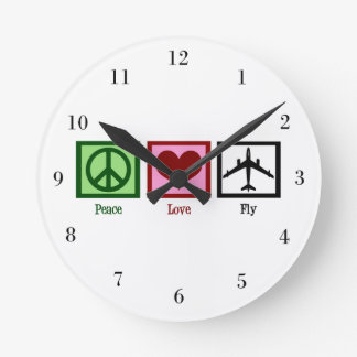 Peace Love Fly Round Clock