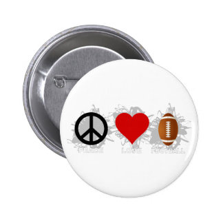 Peace Love Football Emblem 6 Cm Round Badge