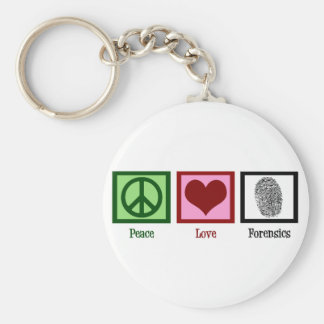 Peace Love Forensics Basic Round Button Key Ring