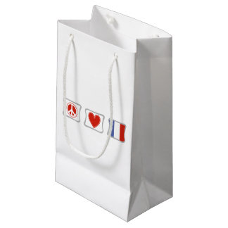 Peace Love France Squares Small Gift Bag