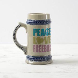 Peace Love Freebies Beer Steins