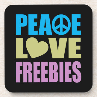 Peace Love Freebies Drink Coasters