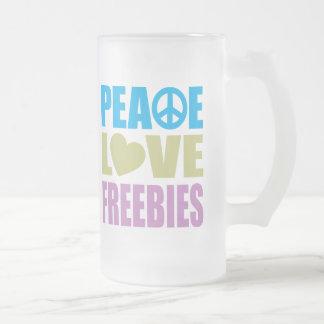 Peace Love Freebies Frosted Glass Mug