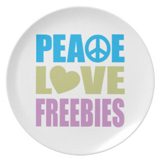 Peace Love Freebies Dinner Plate