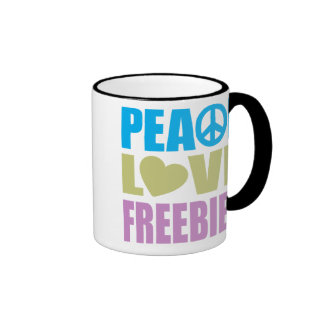 Peace Love Freebies Ringer Mug