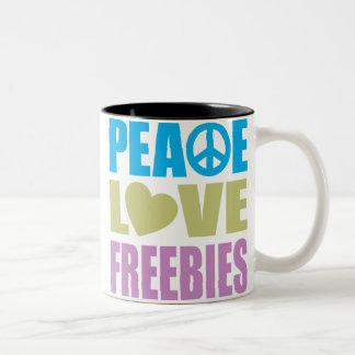 Peace Love Freebies Two-Tone Mug