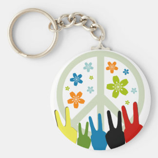 Peace Love Freedom Basic Round Button Key Ring