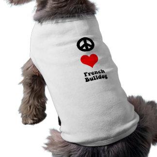 Peace love French Bulldog Sleeveless Dog Shirt
