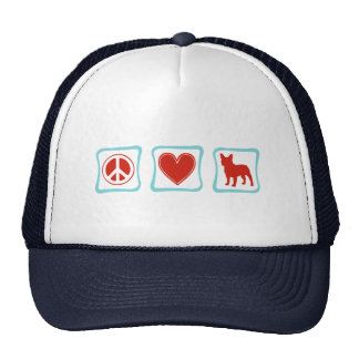 Peace Love French Bulldogs Squares Trucker Hats