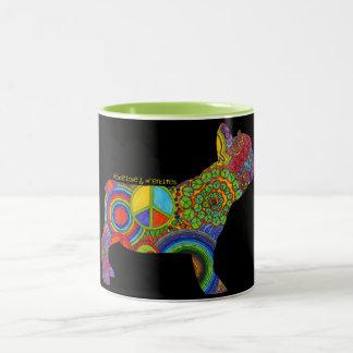 """Peace Love & Frenchies"" Pop Art Mug"