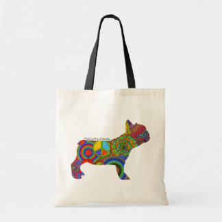 """Peace Love & Frenchies"" Pop Art Tote Bag"