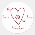 Peace, Love & Friendship Heart Sticker