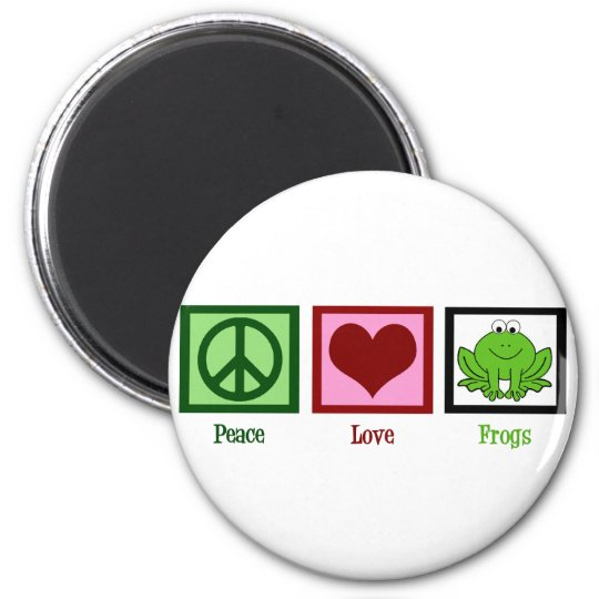 Peace Love Frogs 6 Cm Round Magnet