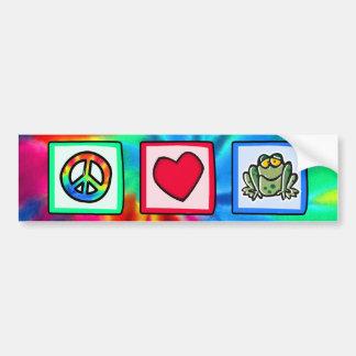 Peace, Love, Frogs Bumper Sticker