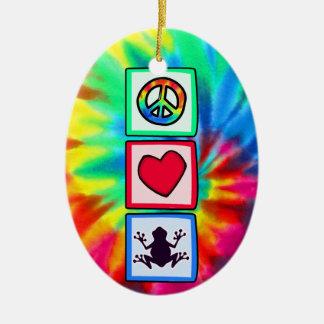 Peace, Love, Frogs Ceramic Oval Decoration