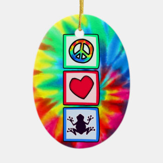Peace, Love, Frogs Double-Sided Oval Ceramic Christmas Ornament