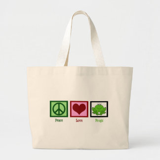 Peace Love Frogs Large Tote Bag