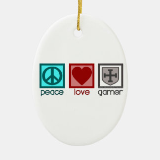 Peace Love Gamer Christmas Ornament