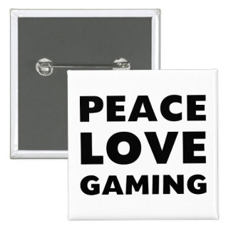 Peace Love Gaming 15 Cm Square Badge