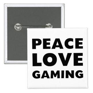 Peace Love Gaming 15 Cm Square Badge