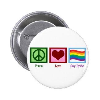 Peace Love Gay Pride 6 Cm Round Badge