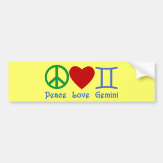 Peace Love Gemini Astrological Design Bumper Sticker