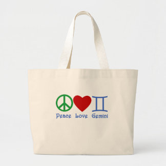 Peace Love Gemini Astrological Design Large Tote Bag