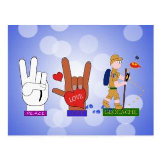 PEACE LOVE GEOCACHE GUY POSTCARD