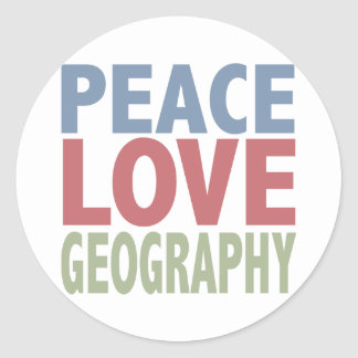 Peace Love Geography Classic Round Sticker