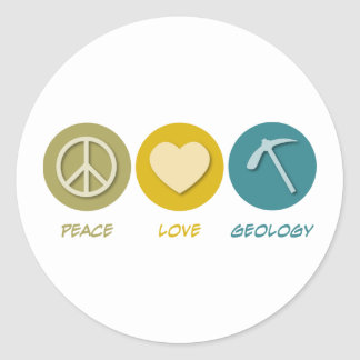 Peace Love Geology Classic Round Sticker