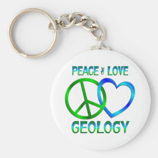 Peace Love GEOLOGY Basic Round Button Key Ring