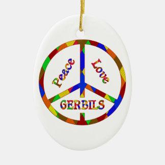 Peace Love Gerbils Ceramic Oval Decoration