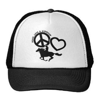 PEACE-LOVE-GIDDYUP CAP