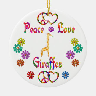 PEACE LOVE GIRAFFES CHRISTMAS ORNAMENT