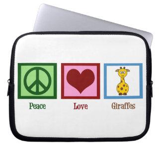 Peace Love Giraffes Laptop Sleeve