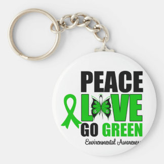Peace Love Go Green Environment Butterfly Basic Round Button Key Ring