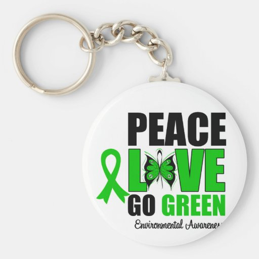 Peace Love Go Green Environment Butterfly Key Chains