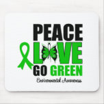 Peace Love Go Green Environment Butterfly Mouse Pad