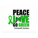 Peace Love Go Green Environment Butterfly Postcard