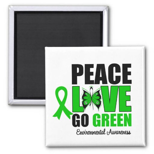 Peace Love Go Green Environment Butterfly Square Magnet