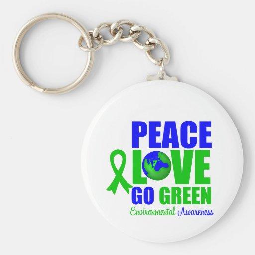 Peace Love Go Green Environment v2 Key Chains