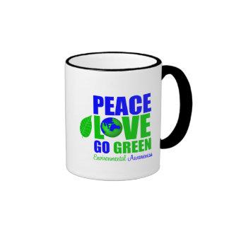 Peace Love Go Green For The Environment Ringer Mug
