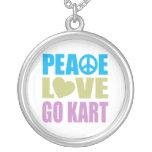 Peace Love Go Kart Round Pendant Necklace