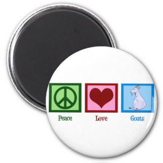 Peace Love Goats 6 Cm Round Magnet
