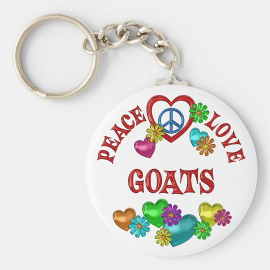 Peace Love Goats Basic Round Button Key Ring